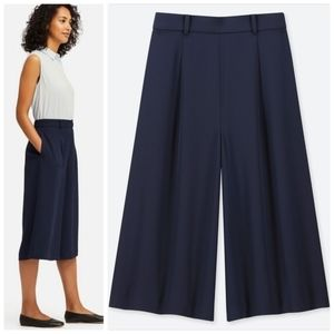 UNIQLO navy blue drape wide leg cropped trousers